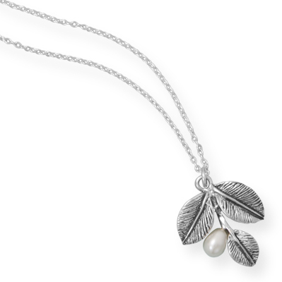 "16"" Oxidized Leaf Necklace with Cultured Freshwater Pearl 925 Sterling Silver"