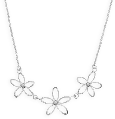 "18"" Diamond Cut Flower Necklace 925 Sterling Silver"