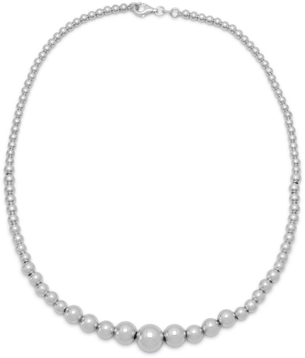 "17.5"" Rhodium Plated Graduated Bead Necklace 925 Sterling Silver"