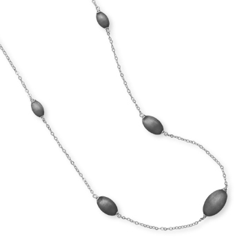 "25"" Rhodium Plated Textured Oval Bead Necklace 925 Sterling Silver"