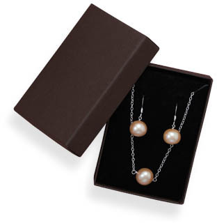Cultured Freshwater Pearl Necklace and Earring Set 925 Sterling Silver