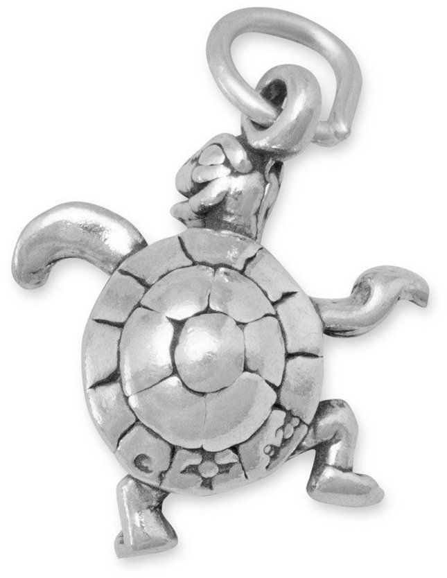 Small Turtle Charm 925 Sterling Silver