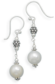 Cultured Freshwater Pearl Drop Earrings 925 Sterling Silver