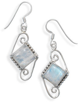 Oxidized Rainbow Moonstone Earrings 925 Sterling Silver