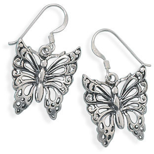 Oxidized Butterfly Earrings 925 Sterling Silver