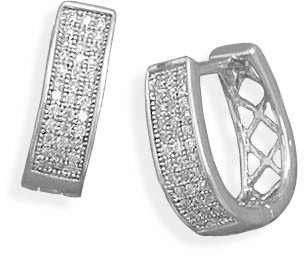 Rhodium Plated Hinged CZ Earrings 925 Sterling Silver - DISCONTINUED
