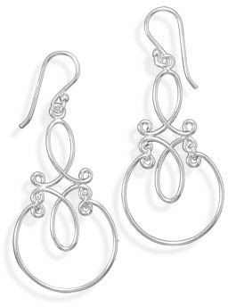Scroll Design French Wire Earrings 925 Sterling Silver