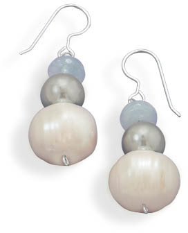 Cultured Freshwater Pearl, Shell and Aquamarine Drop Earrings 925 Sterling Silver
