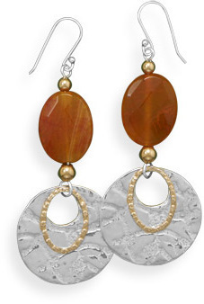 Fire Agate Two Tone Textured Earrings 925 Sterling Silver
