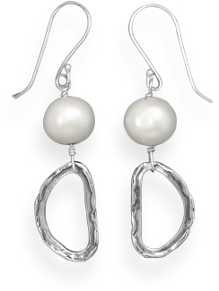 Cultured Freshwater Pearl and Abstract Link Drop Earrings 925 Sterling Silver