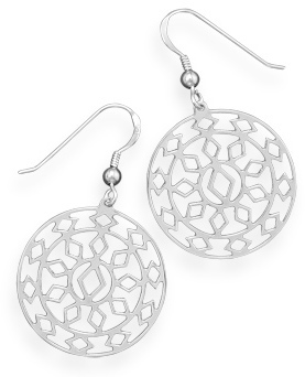 Rhodium Plated Southwestern Design Earrings 925 Sterling Silver