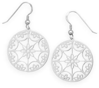Rhodium Plated Flower Design Earrings 925 Sterling Silver - DISCONTINUED