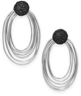 Rhodium Plated Black CZ Multiring Drop Earrings 925 Sterling Silver