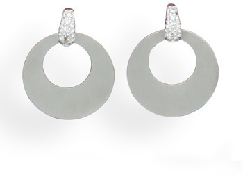 CZ Post Earrings with Satin Drop 925 Sterling Silver