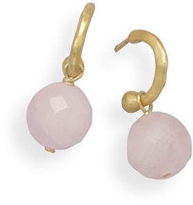 14 Karat Gold Plated Hoop Earrings with Rose Quartz Bead 925 Sterling Silver