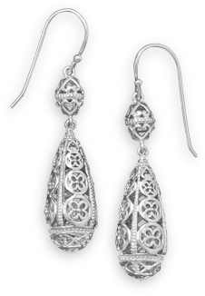 Rhodium Plated Cut Out Drop Earrings 925 Sterling Silver