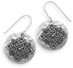 Oxidized Ornate Cut Out Earrings 925 Sterling Silver