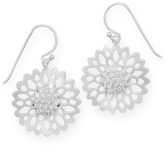 Satin Finish CZ Flower Earrings 925 Sterling Silver