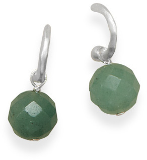 Hoop Earrings with Aventurine Bead 925 Sterling Silver