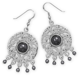 Rhodium Plated Hematite and Simulated Pearl Earrings 925 Sterling Silver