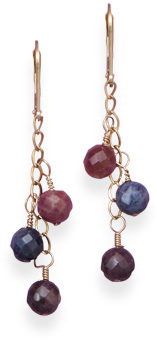 Gold Filled Earrings with Faceted Ruby and Sapphire Beads
