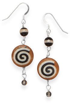 Agate and Wood Earrings 925 Sterling Silver