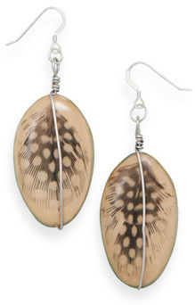 Earrings with Feather Design Wood Bead 925 Sterling Silver