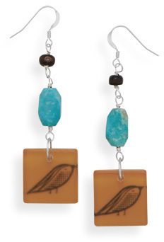 Turquoise Earrings with Bird Bead Drop 925 Sterling Silver