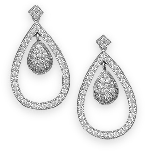 Rhodium Plated Micro Pave CZ Pear Drop Earrings 925 Sterling Silver