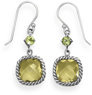Lemon Quartz and Peridot Drop Earrings 925 Sterling Silver - DISCONTINUED