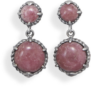 Rhodonite Drop Earrings 925 Sterling Silver