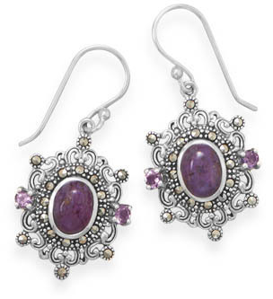 Ornate Marcasite and Purple Turquoise Earrings 925 Sterling Silver
