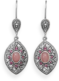 Pink Opal and Rhodolite Earrings 925 Sterling Silver