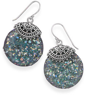 Roman Glass Beaded Top Earrings 925 Sterling Silver
