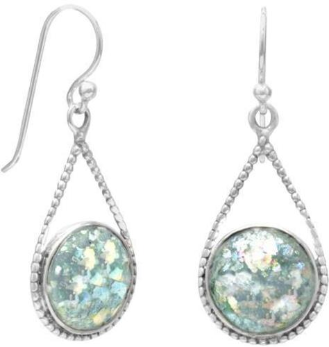 Roman Glass Drop Earrings 925 Sterling Silver