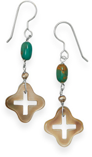 Shell and Turquoise Drop Earrings 925 Sterling Silver