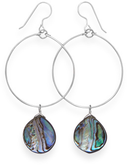 Abalone Shell Drop Earrings 925 Sterling Silver