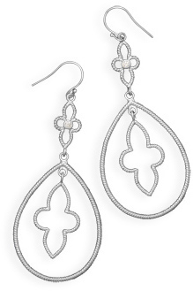 Rhodium Plated Pear and Cross Drop Earrings 925 Sterling Silver