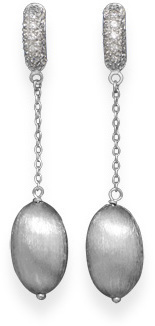 Pave CZ Earrings with Brushed Beads 925 Sterling Silver