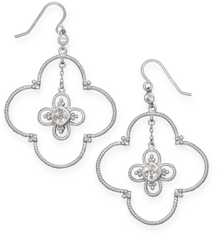 Rhodium Plated Double Quatrefoil Drop Earrings 925 Sterling Silver