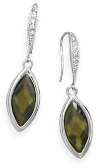 Rhodium Plated Olivine CZ Earrings 925 Sterling Silver