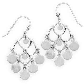 Rhodium Plated Satin Finish Chandelier Earrings 925 Sterling Silver