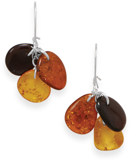 Three Color Amber Bead Drop Earrings 925 Sterling Silver