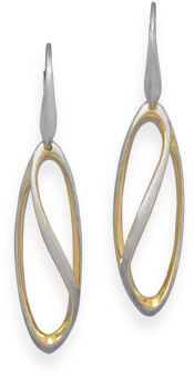 Two Tone Soft Marquise Drop Earrings 925 Sterling Silver