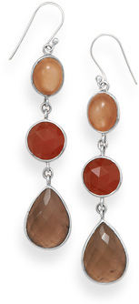 Moonstone, Carnelian and Quartz Drop Earrings 925 Sterling Silver