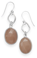 Peach Moonstone Drop Earrings 925 Sterling Silver