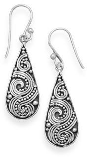 Oxidized Beaded Swirl Design Earrings 925 Sterling Silver