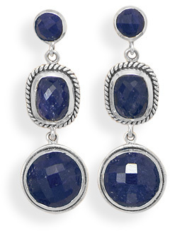 Sapphire Drop Post Earrings 925 Sterling Silver