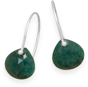 Rough-Cut Emerald Earrings 925 Sterling Silver
