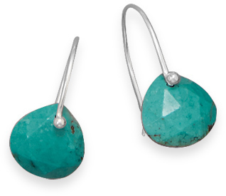 Rough-Cut Turquoise Earrings 925 Sterling Silver